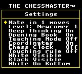 The Chessmaster Game Gear The Settings screen.