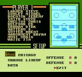 Pro Sport Hockey NES Team roster screen