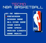 Tecmo NBA Basketball NES Main menu