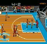 Tecmo NBA Basketball NES The score scrolls by at the top of the screen.