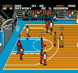 Tecmo NBA Basketball NES The top of the screen shows the score, how much time is left, and the players' names.