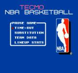 Tecmo NBA Basketball NES Your options during a basketball game in progress