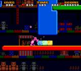 Jelly Boy SNES Using the hammer power-up to smash blocks.