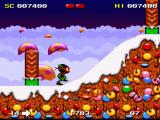 Zool SNES Ascending a snowy hill