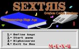 Sextris DOS Main menu