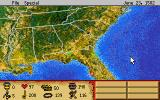 Discovering America DOS The map. As the game progresses new locations will be available