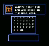 The Lone Ranger NES Password screen