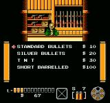 The Lone Ranger NES Gun shop inventory screen