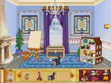 Disney's Cinderella's Dollhouse Windows Clicking on the wall changes the colors, drapes, and fireplace