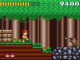 Super Adventure Island SNES This mean-looking spear-thrower is not enough to stop Master Higgins