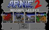 Arnie Savage: Combat Commando DOS Title & Mission selection screen. You may take the missions in any order.