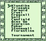 Solitaire FunPak Game Boy Various selection of Solitaire modes