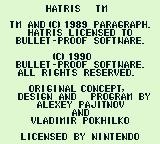 Hatris Game Boy Copyright notice