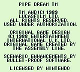 Pipe Dream Game Boy Copyright notice