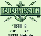 Radar Mission Game Boy Title screen - 2 player mode available