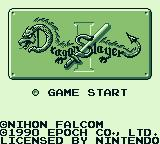 Dragon Slayer Game Boy Title screen - just start, no options
