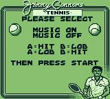 Jimmy Connors Tennis Game Boy Make your selection from different options