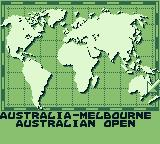 Jimmy Connors Tennis Game Boy Map: shows where the next tournament will take place