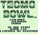 Tecmo Bowl Game Boy Title screen with options