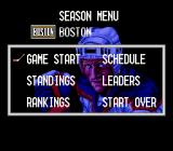Pro Sport Hockey SNES Season menu