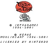 Tintin in Tibet Game Boy Color Copyright notice