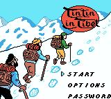 Tintin in Tibet Game Boy Color Title screen with nice graphics