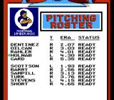 Roger Clemens' MVP Baseball NES Selecting the pitching roster. Can pick up and move players up and down the list.