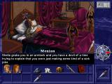 Shannara DOS Ah, the golden days of adventure games... Those games let you tried silly things and reacted to your stupidity. Here, you attempt to stab king Menion with a knife without any reason whatsoever.