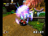 Sonic Adventure DX (Director's Cut) GameCube Firing missiles at a flying worm.