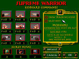 Supreme Warrior DOS Keyboard configuration screen