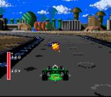 Battle Cars SNES Here's a shot of the actual racing, in all its Mode-7 graphical glory... remember when Mode-7 was cool?