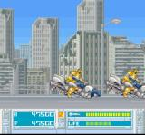 Bazooka Blitzkrieg SNES Level 2 features a high-speed chase against robots on hover bikes. These guys really do have all the best toys...