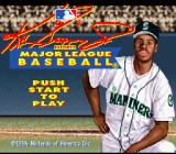 Ken Griffey Jr Presents Major League Baseball SNES The title screen, featuring (who else?) Ken Griffey Jr.