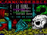 Cannon Bubble ZX Spectrum Main menu