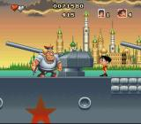 Soccer Kid SNES Fighting Russian seamen on a battleship.