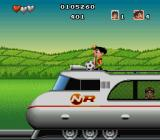 Soccer Kid SNES Taking the Japanese Bullettrain to Tokyo.