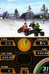 ATV Quad Frenzy Nintendo DS Each combination of vehicle and a rider is composed of 500 polygons... I say they didn't do a very good job with those.