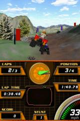 ATV Quad Frenzy Nintendo DS The directional arrow on the bottom screen is completely useless, as it points the way from the perspective of your position on the top-down map... where the direction of your heading is not indicated