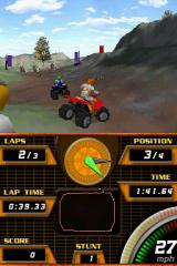 ATV Quad Frenzy Nintendo DS If you watch the bottom screen closely, you will see that the racer's dots can significantly deviate from the set course driving all over parts of the screen not meant for the map.