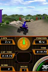 ATV Quad Frenzy Nintendo DS Colliding with anything in this game, be it a flat cutout of a rock or another rider will send your vehicle spinning out of control.