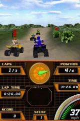 "ATV Quad Frenzy Nintendo DS The game features ""Stunts"", which neither count toward anything, nor can be failed. Performing them requires you to select a stunt with SELECT, and execute it with A+B in mid-air..."