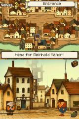 Professor Layton and the Curious Village Nintendo DS Game's hub might remind most players of a point and click adventure.