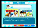 Dr. Mario Online Rx Wii Selecting a game mode.