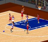 NBA Live 95 SNES The colors of the basketball arena depend on the home team.