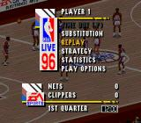 NBA Live 96 SNES Pause menu