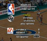 NBA Live 98 SNES Pause menu - change your strategy or watch a replay.