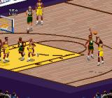NBA Live 98 SNES Taking the long shot, it's going to be blocked.