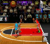 NBA Hang Time SNES You control the guy with the green boots.