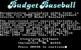 Budget Baseball DOS Title screen.