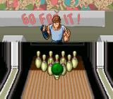 Super Bowling SNES The ball hitting the pins.
